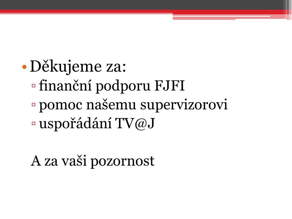 Děkujeme za: ▫finanční podporu FJFI ▫pomoc našemu supervizorovi ▫uspořádání TV@J A za vaši pozornost