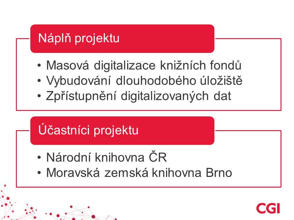 Masová digitalizace knižních fondů Vybudování dlouhodobého úložiště Zpřístupnění digitalizovaných dat Náplň projektu Národní knihovna ČR Moravská zemská knihovna Brno Účastníci projektu