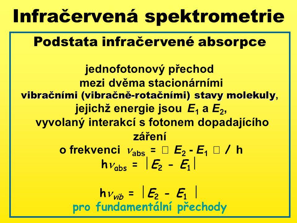 Infračervená spektrometrie Podstata infračervené absorpce jednofotonový přechod mezi dvěma stacionárními vibračními (vibračně-rotačními) stavy molekuly vibračními (vibračně-rotačními) stavy molekuly, jejichž energie jsou E 1 a E 2, vyvolaný interakcí s fotonem dopadajícího záření o frekvenci abs =  E 2 - E 1  / h h abs =  E 2 - E 1  h vib =  E 2 - E 1  pro fundamentální přechody