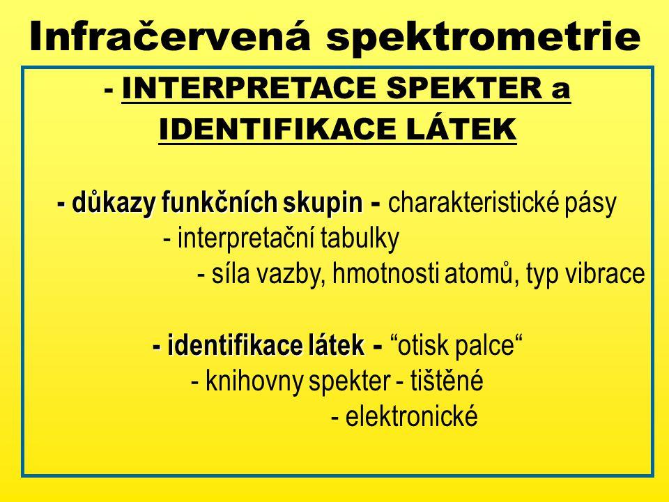 Infračervená spektrometrie - INTERPRETACE SPEKTER a IDENTIFIKACE LÁTEK - důkazy funkčních skupin - důkazy funkčních skupin - charakteristické pásy - interpretační tabulky - síla vazby, hmotnosti atomů, typ vibrace - identifikace látek - identifikace látek - otisk palce - knihovny spekter - tištěné - elektronické