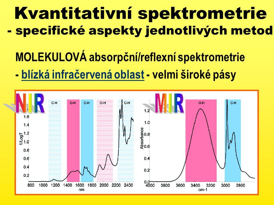 Kvantitativní spektrometrie - specifické aspekty jednotlivých metod MOLEKULOVÁ absorpční/reflexní spektrometrie - blízká infračervená oblast - velmi široké pásy