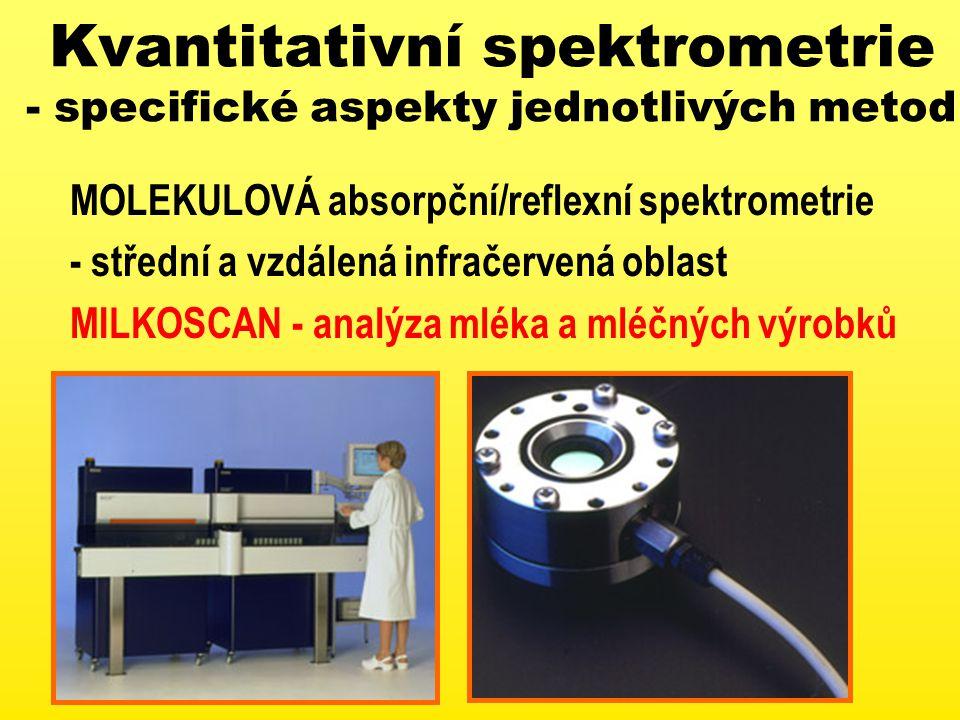 Kvantitativní spektrometrie - specifické aspekty jednotlivých metod MOLEKULOVÁ absorpční/reflexní spektrometrie - střední a vzdálená infračervená oblast MILKOSCAN - analýza mléka a mléčných výrobků