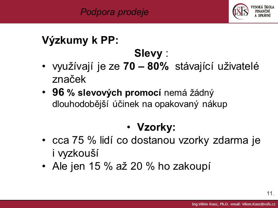 11. Ing.Vilém Kunz, Ph.D. email: Vilem.Kunz@vsfs.cz Podpora prodeje Výzkumy k PP: Slevy : využívají je ze 70 – 80% stávající uživatelé značek 96 % sle