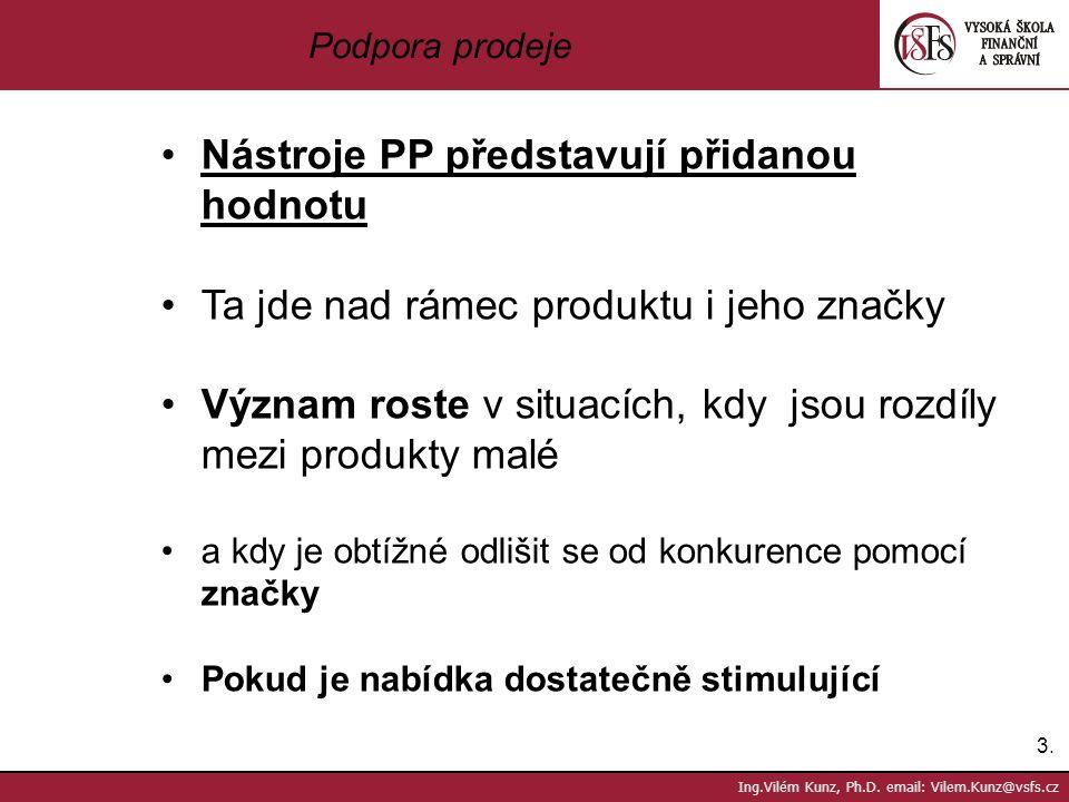 3.3. Ing.Vilém Kunz, Ph.D. email: Vilem.Kunz@vsfs.cz Podpora prodeje Nástroje PP představují přidanou hodnotu Ta jde nad rámec produktu i jeho značky