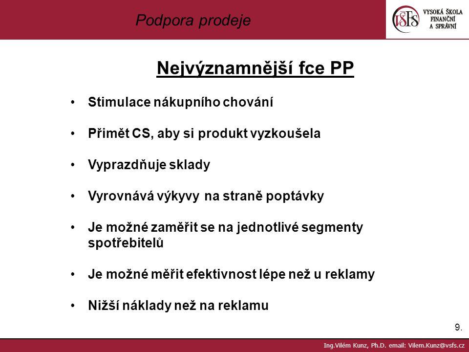 9.9. Ing.Vilém Kunz, Ph.D. email: Vilem.Kunz@vsfs.cz Podpora prodeje Nejvýznamnější fce PP Stimulace nákupního chování Přimět CS, aby si produkt vyzko