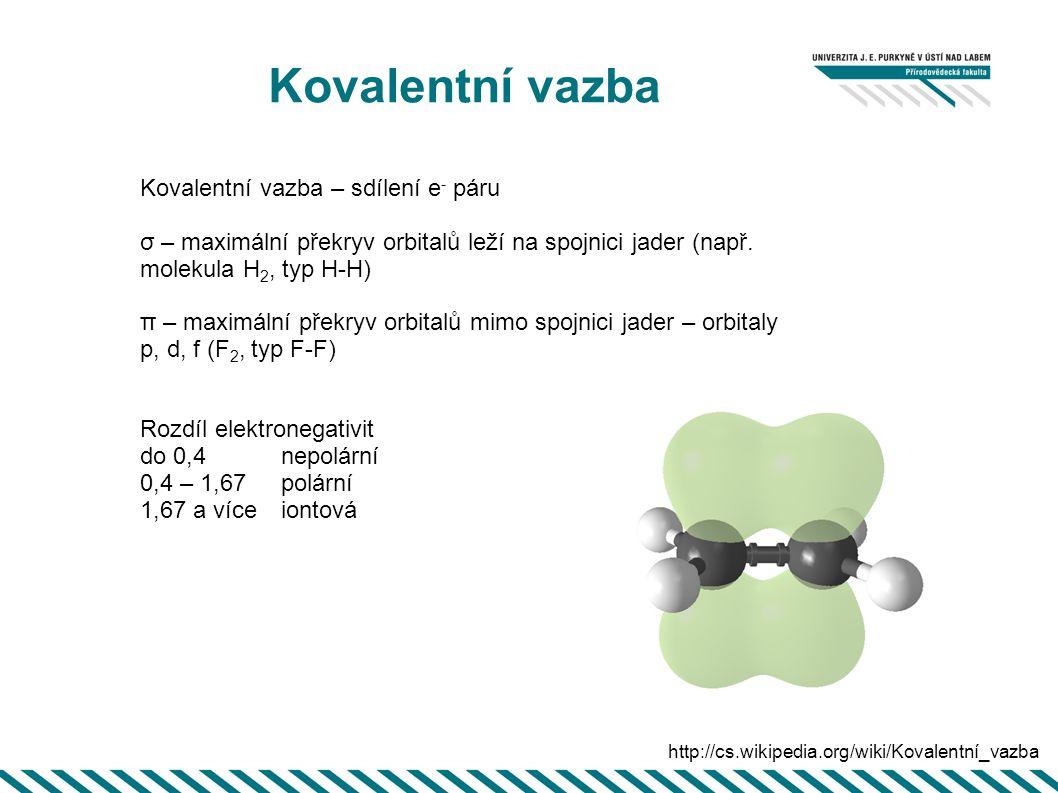 Kovalentní vazba Kovalentní vazba – sdílení e - páru σ – maximální překryv orbitalů leží na spojnici jader (např. molekula H 2, typ H-H) π – maximální