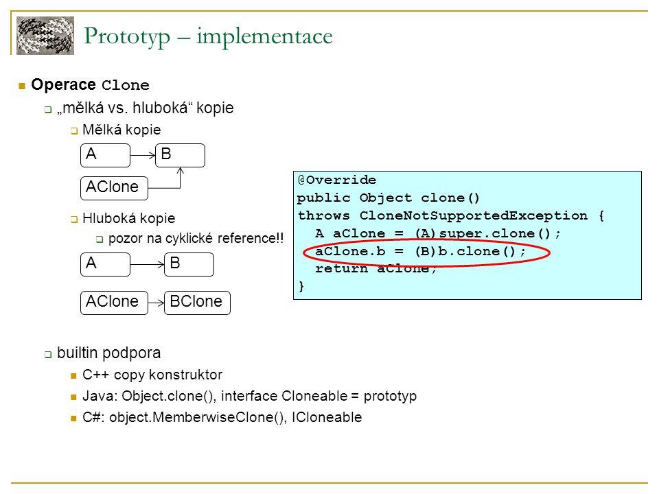 """Prototyp – implementace Operace Clone  """"mělká vs."""