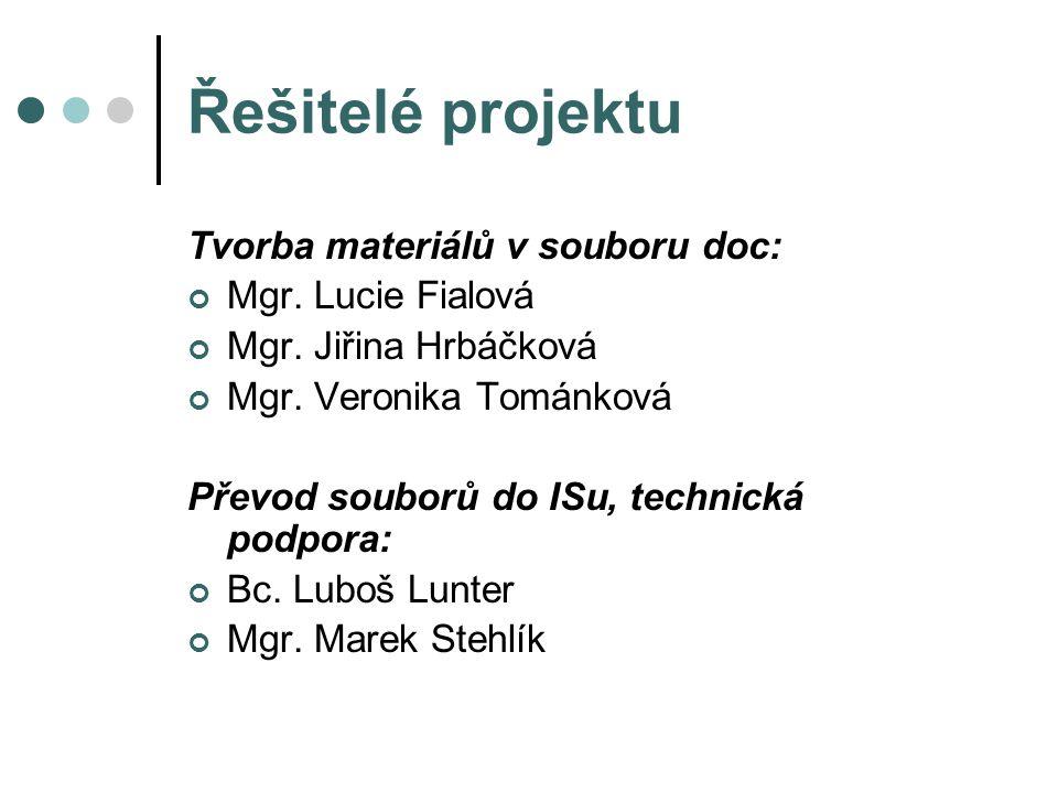Řešitelé projektu Tvorba materiálů v souboru doc: Mgr.