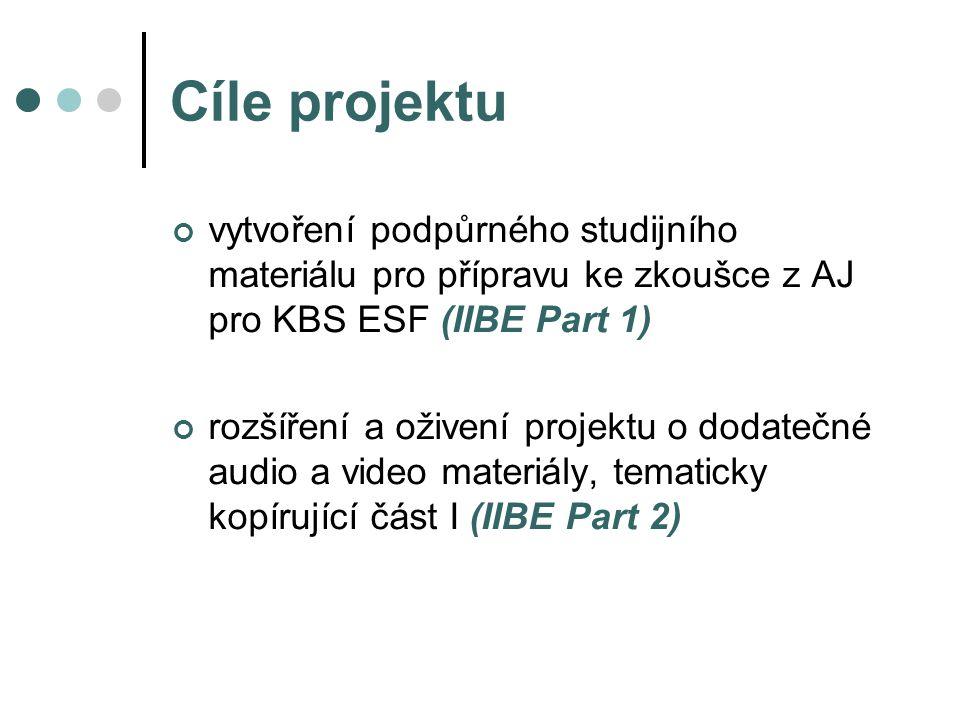 Cíle projektu vytvoření podpůrného studijního materiálu pro přípravu ke zkoušce z AJ pro KBS ESF (IIBE Part 1) rozšíření a oživení projektu o dodatečné audio a video materiály, tematicky kopírující část I (IIBE Part 2)