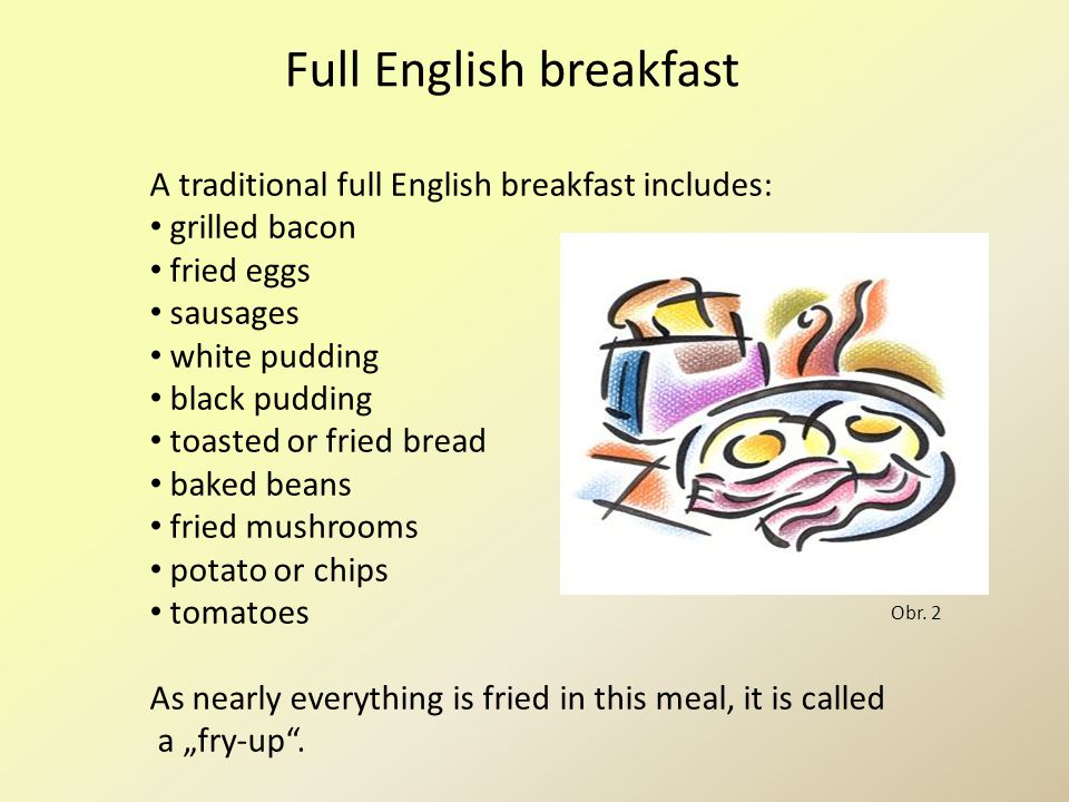 Full English breakfast A traditional full English breakfast includes: grilled bacon fried eggs sausages white pudding black pudding toasted or fried b