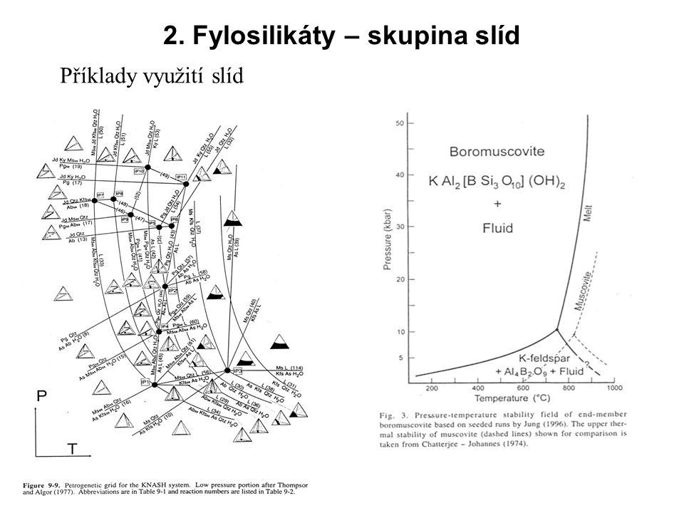 2. Fylosilikáty – skupina slíd Příklady využití slíd