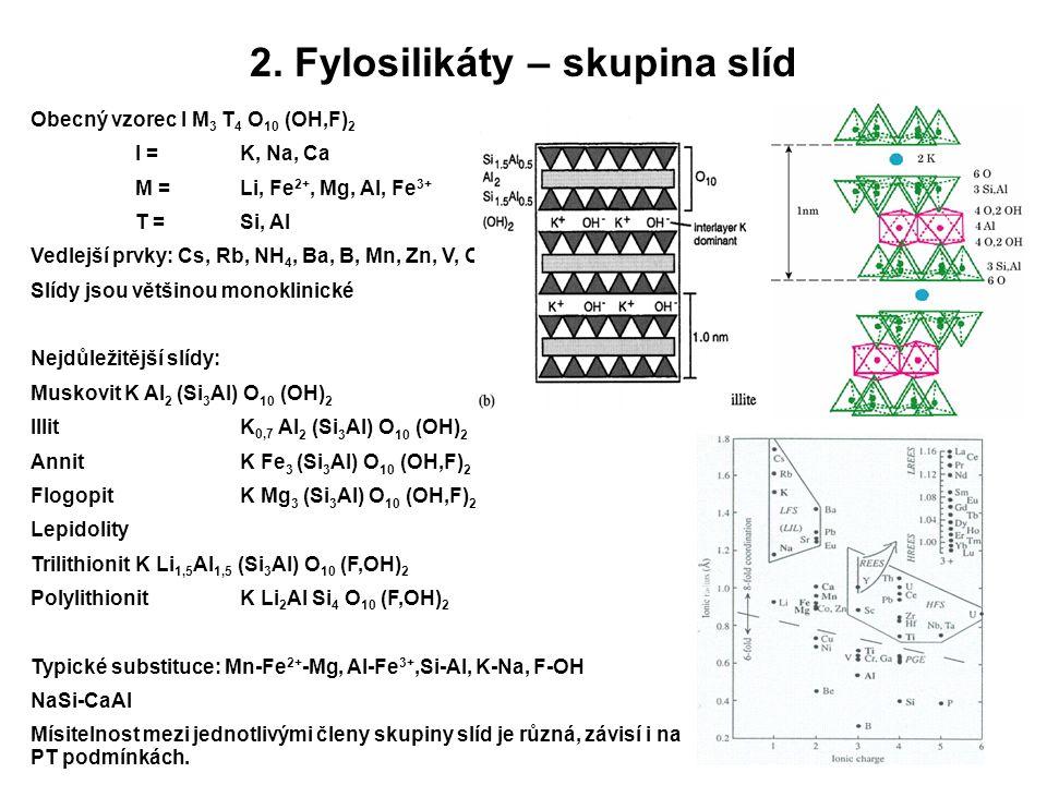 2. Fylosilikáty – skupina slíd Obecný vzorec I M 3 T 4 O 10 (OH,F) 2 I = K, Na, Ca M =Li, Fe 2+, Mg, Al, Fe 3+ T = Si, Al Vedlejší prvky: Cs, Rb, NH 4