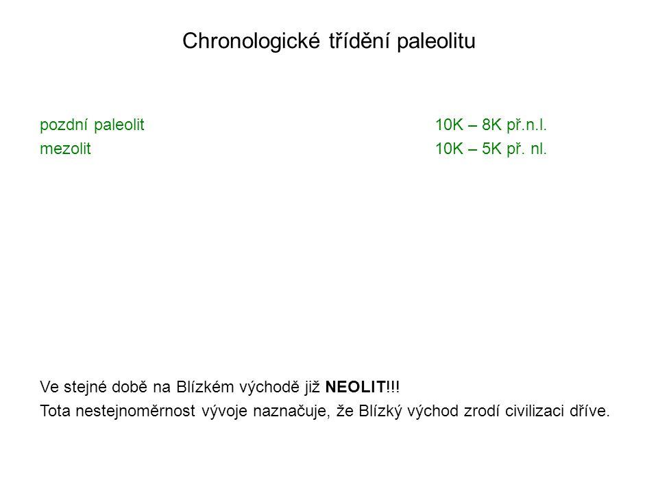 Chronologické třídění paleolitu pozdní paleolit mezolit 10K – 8K př.n.l. 10K – 5K př. nl. Ve stejné době na Blízkém východě již NEOLIT!!! Tota nestejn