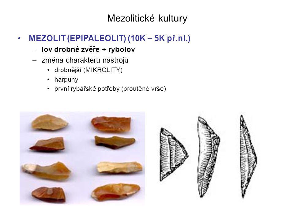 Mezolitické kultury MEZOLIT (EPIPALEOLIT) (10K – 5K př.nl.) –lov drobné zvěře + rybolov –změna charakteru nástrojů drobnější (MIKROLITY) harpuny první