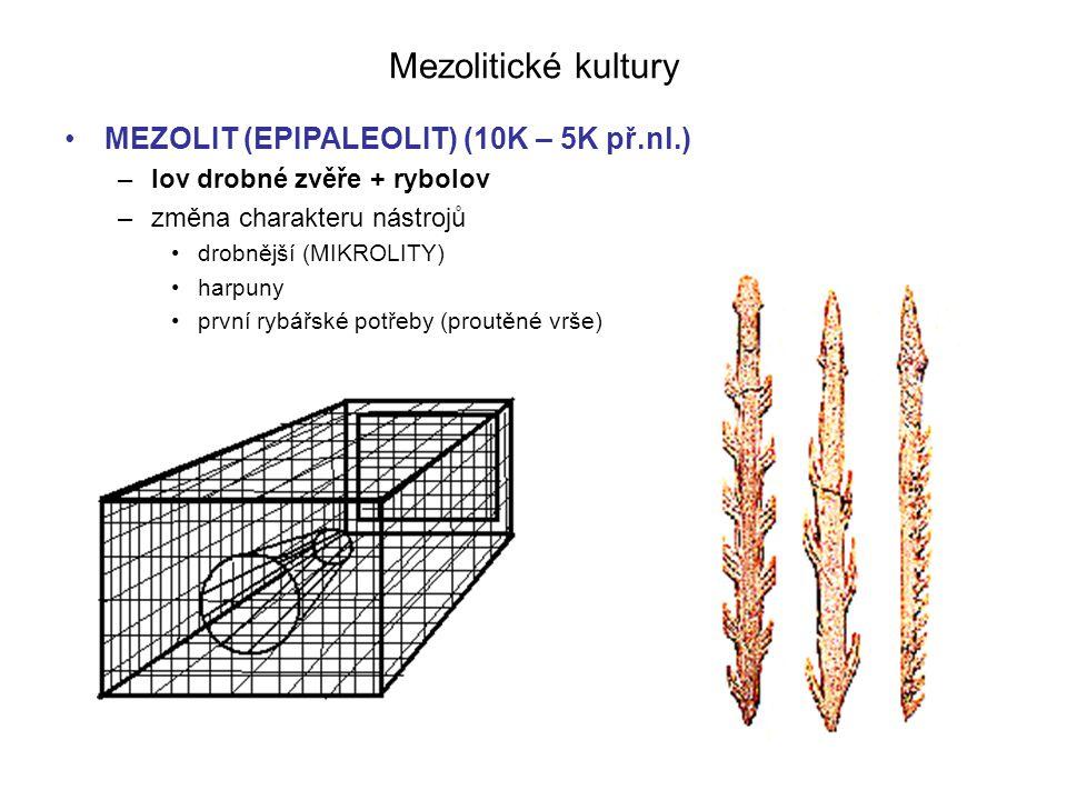 Mezolitické kultury MEZOLIT (EPIPALEOLIT) (10K – 5K př.nl.) –lov drobné zvěře + rybolov –změna charakteru nástrojů drobnější (MIKROLITY) harpuny první rybářské potřeby (proutěné vrše)