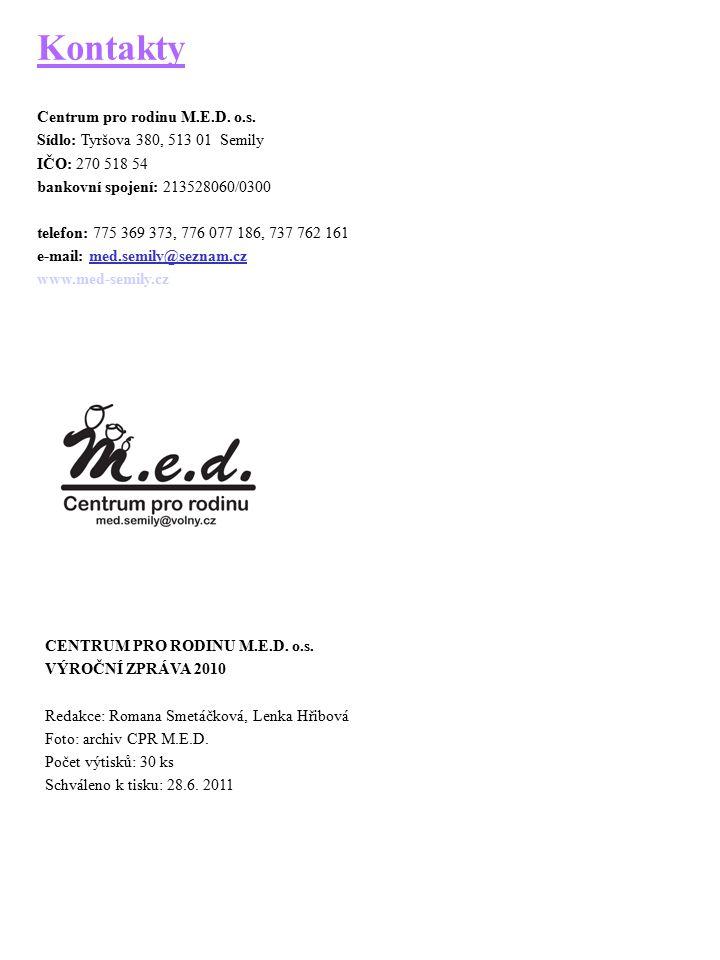 Kontakty Centrum pro rodinu M.E.D. o.s. Sídlo: Tyršova 380, 513 01 Semily IČO: 270 518 54 bankovní spojení: 213528060/0300 telefon: 775 369 373, 776 0