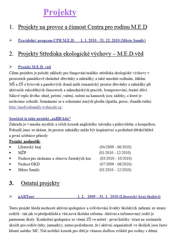 Projekty 1.Projekty na provoz a činnost Centra pro rodinu M.E.D  Pravidelný program CPR M.E.D. 1. 1. 2010 - 31. 12. 2010 (Město Semily) 2.Projekty St