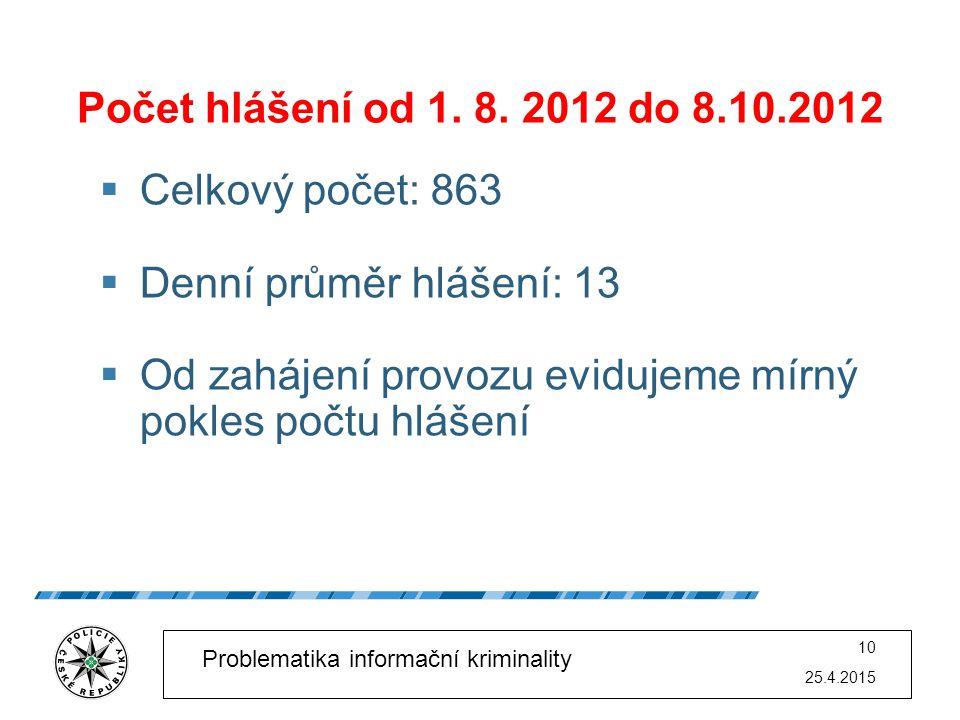 25.4.2015 10 Problematika informační kriminality Počet hlášení od 1. 8. 2012 do 8.10.2012  Celkový počet: 863  Denní průměr hlášení: 13  Od zahájen