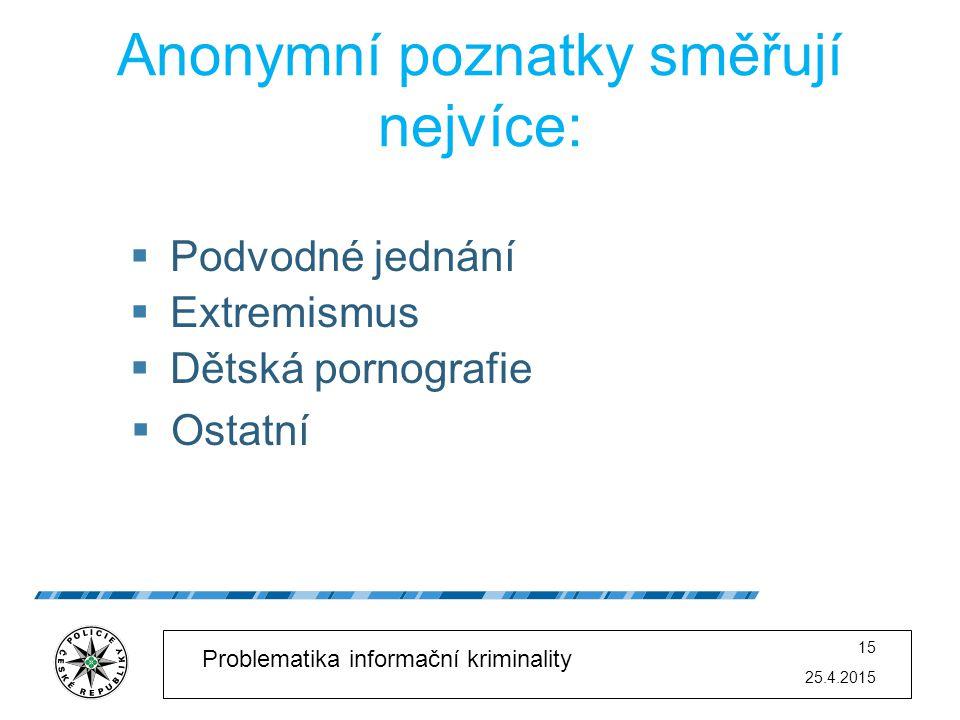 25.4.2015 15 Problematika informační kriminality Anonymní poznatky směřují nejvíce:  Podvodné jednání  Extremismus  Dětská pornografie  Ostatní