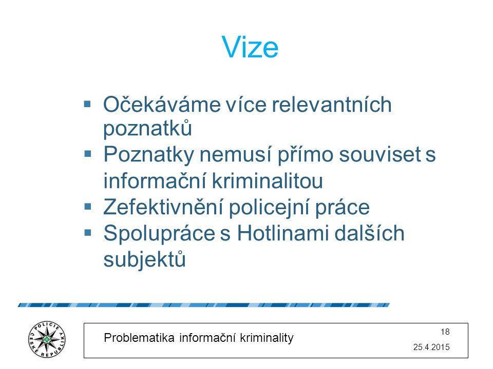 25.4.2015 18 Problematika informační kriminality Vize  Očekáváme více relevantních poznatků  Poznatky nemusí přímo souviset s informační kriminalito