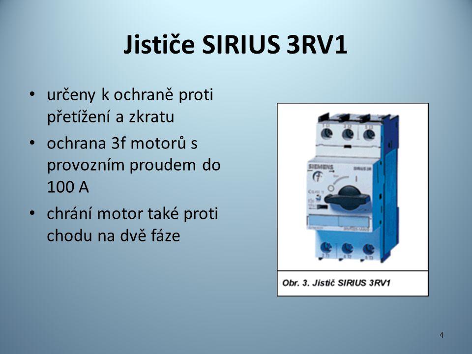 Nadproudová relé SIRIUS Tepelná nadproudová relé: – tepelný ohyb bimetalu aktivuje vypínací mechanismus – pro menší výkony Elektronická nadproudová relé: – měří nárůst proudu MTP a motor je odpojen stykačem – velký rozsah nastavení proudu, nepatrný ztrátový výkon, stabilní časová závislost vypínacích charakteristik 5