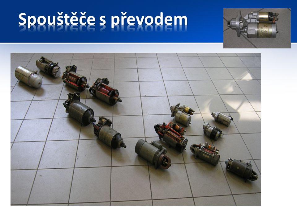 Konstrukce: Spouštěč je elektrický stejnosměrný sériový elektromotor s převodovkou a eletromagnetický spínač se silovými 2 kontakty.