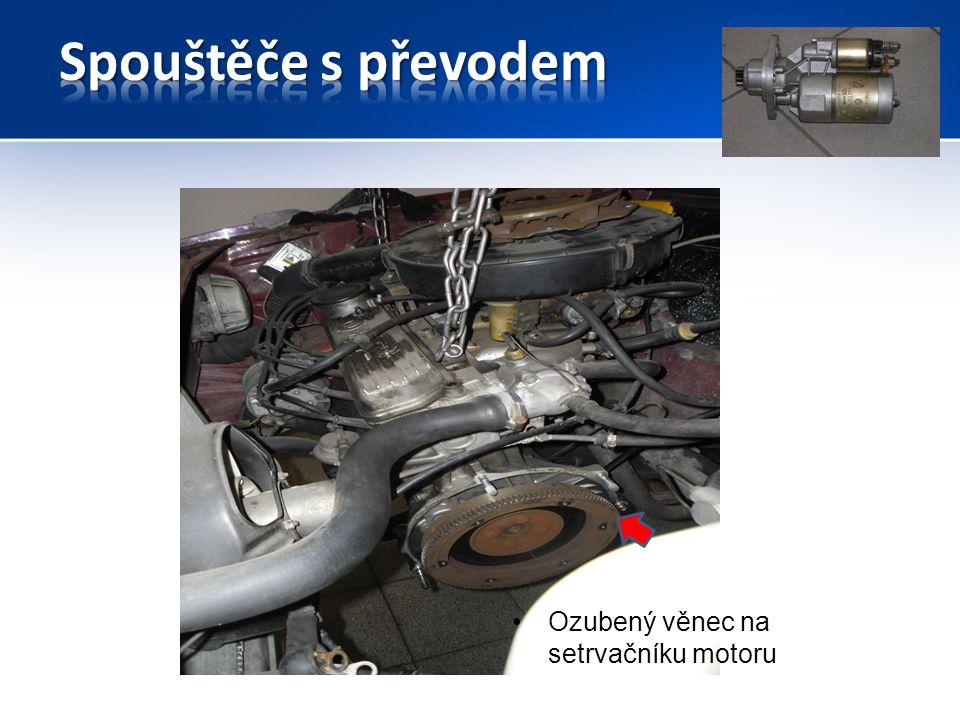 Spouštěče s převodem Rotor a pastorek mají mezi sebou ozubený převod do pomala.