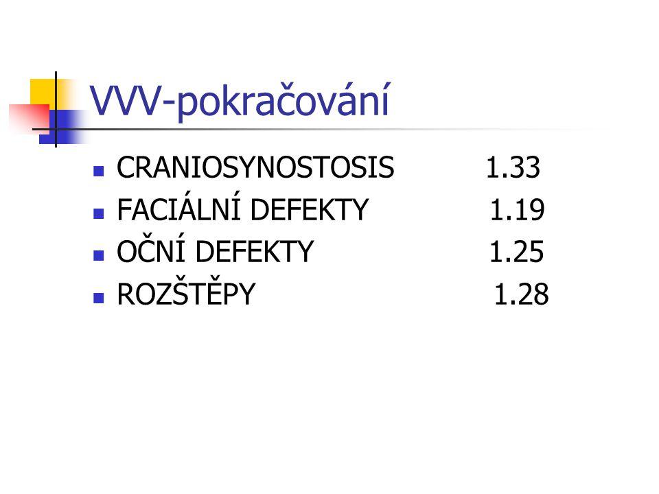 VVV-pokračování CRANIOSYNOSTOSIS 1.33 FACIÁLNÍ DEFEKTY 1.19 OČNÍ DEFEKTY 1.25 ROZŠTĚPY 1.28