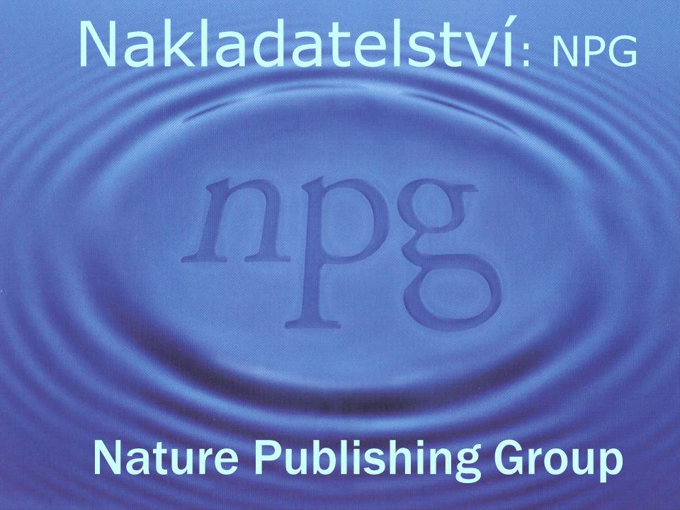 Nakladatelství : NPG Nature Publishing Group