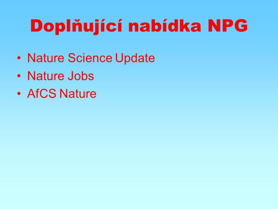 Doplňující nabídka NPG Nature Science Update Nature Jobs AfCS Nature