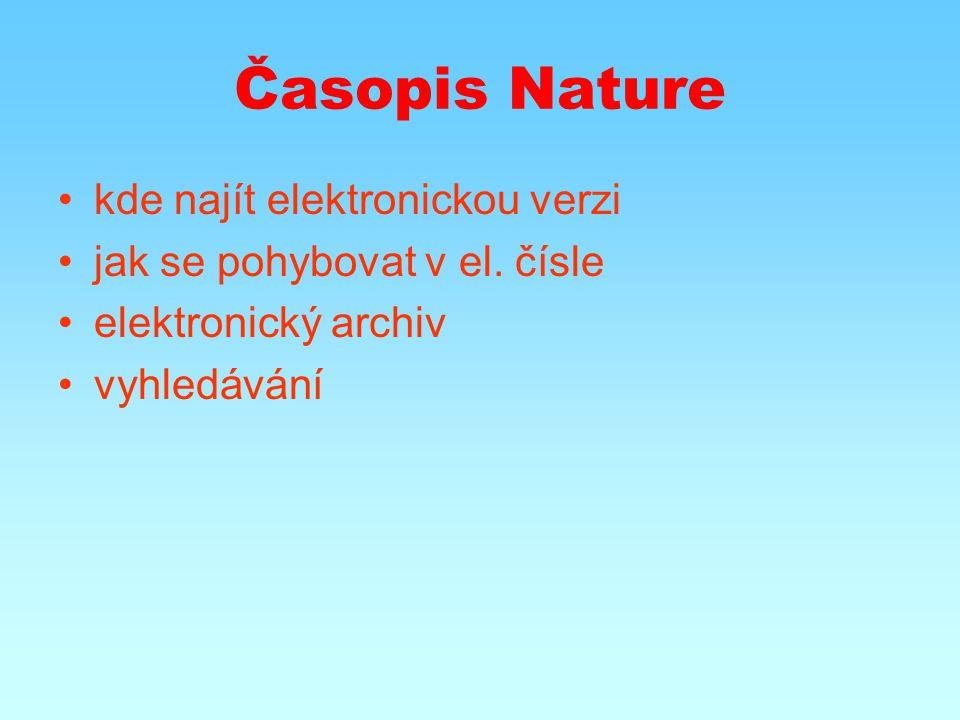 Časopis Nature kde najít elektronickou verzi jak se pohybovat v el.