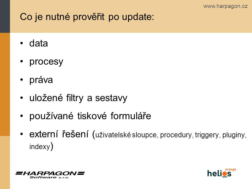 www.harpagon.cz Co je nutné prověřit po update: data procesy práva uložené filtry a sestavy používané tiskové formuláře externí řešení ( uživatelské sloupce, procedury, triggery, pluginy, indexy )