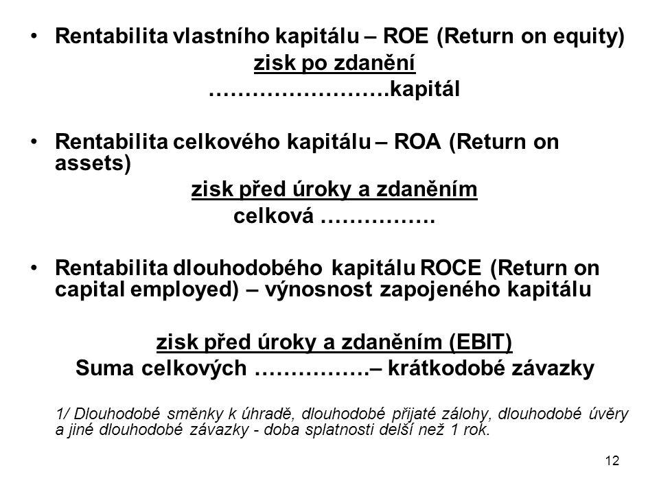 12 Rentabilita vlastního kapitálu – ROE (Return on equity) zisk po zdanění …………………….kapitál Rentabilita celkového kapitálu – ROA (Return on assets) zisk před úroky a zdaněním celková …………….