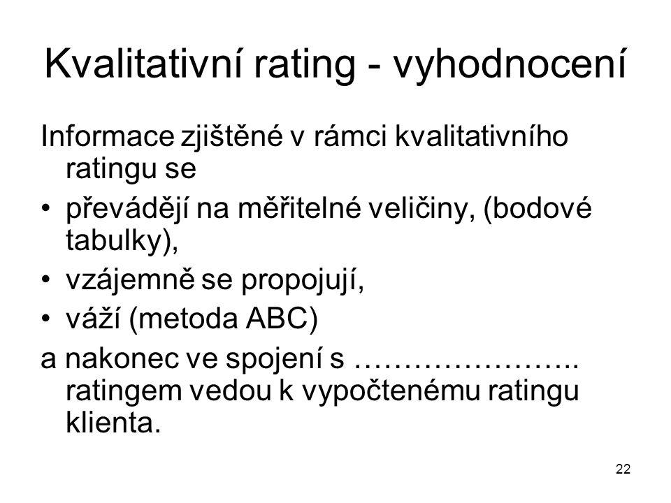 22 Kvalitativní rating - vyhodnocení Informace zjištěné v rámci kvalitativního ratingu se převádějí na měřitelné veličiny, (bodové tabulky), vzájemně se propojují, váží (metoda ABC) a nakonec ve spojení s …………………..