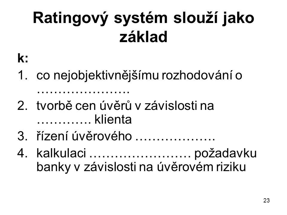23 Ratingový systém slouží jako základ k: 1.co nejobjektivnějšímu rozhodování o …………………. 2.tvorbě cen úvěrů v závislosti na …………. klienta 3.řízení úvě