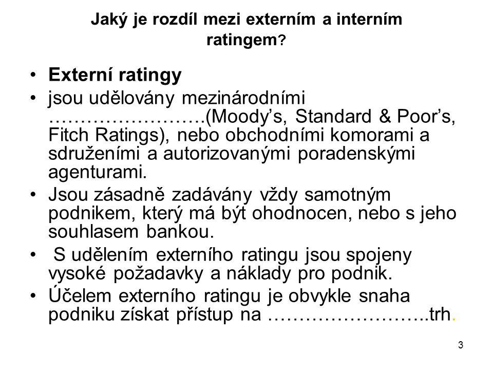 3 Jaký je rozdíl mezi externím a interním ratingem ? Externí ratingy jsou udělovány mezinárodními …………………….(Moody's, Standard & Poor's, Fitch Ratings)