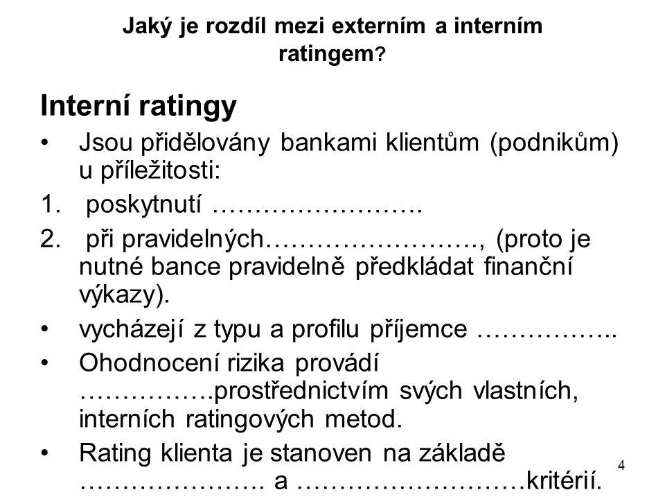 4 Jaký je rozdíl mezi externím a interním ratingem ? Interní ratingy Jsou přidělovány bankami klientům (podnikům) u příležitosti: 1. poskytnutí ………………