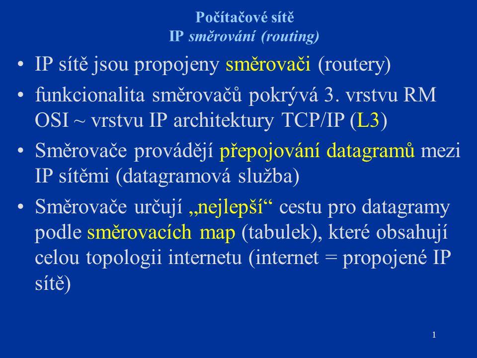 12 Počítačové sítě IP směrování Každý směrovač musí mít mapu celého internetu - pro celý Internet nerealizovatelné - řešení: strukturalizace Internetu na autonomní systémy Autonomní systém (AS) –komplex sítí a směrovačů –jedna administrativní doména se společnou směrovací strategií –AS je registrován u NIC (Network Information Center) a má přidělen unikátní identifikátor (16 bitů), který používají ke své identifikaci externí směrovací protokoly v procesu vzájemné výměny směrovacích informací Dvě úrovně směrování –uvnitř AS - směrování interními směrovacími protokoly (IGP - Interior Gateway Protocol) –mezi AS - směrování externími směrovacími protokoly (EGP - Exterior Gateway Protocol)