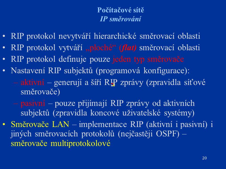 """20 Počítačové sítě IP směrování RIP protokol nevytváří hierarchické směrovací oblasti RIP protokol vytváří """"ploché"""" (flat) směrovací oblasti RIP proto"""