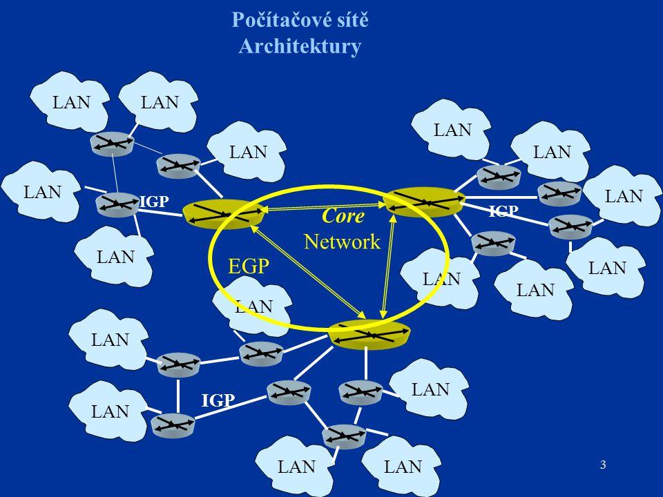 """14 Počítačové sítě IP směrování –Algoritmus Bellman-Ford Cíl je vytvořit tabulku: Net Gateway Distance (""""hopcount ) Distance je počet směrovačů, přes které musí datagram projít na trase do cílové sítě směrovač šíří svou směrovací tabulku IP broadcastem jestliže přijme směrovač novou informaci (záznam pro síť, kterou ve své tabulce nemá nebo je v záznamu pro známou síť kratší hopcount, svou tabulku opraví)"""