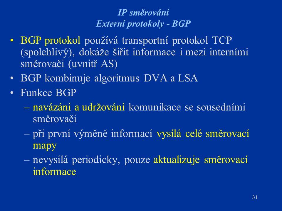 31 IP směrování Externí protokoly - BGP BGP protokol používá transportní protokol TCP (spolehlivý), dokáže šířit informace i mezi interními směrovači
