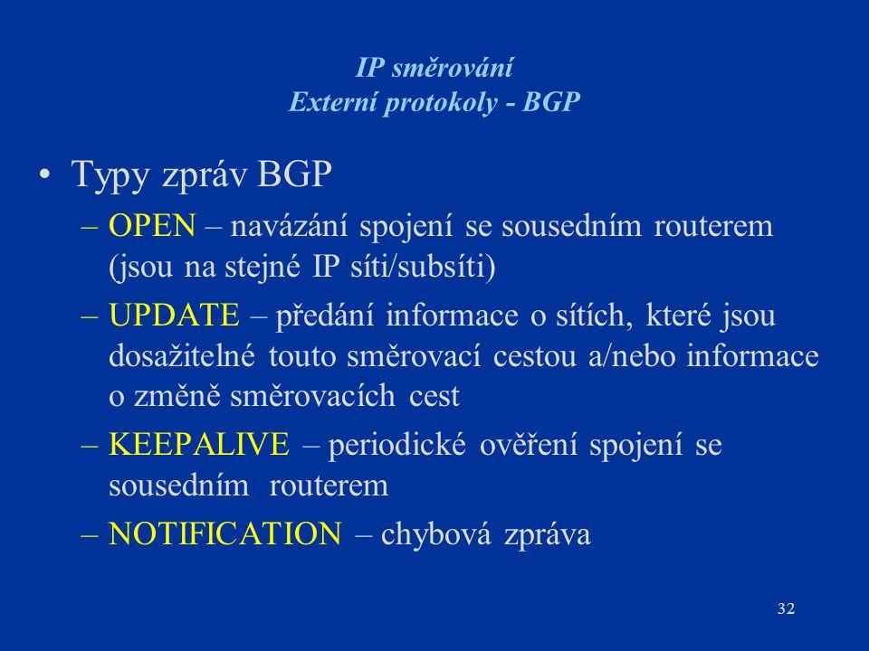 32 IP směrování Externí protokoly - BGP Typy zpráv BGP –OPEN – navázání spojení se sousedním routerem (jsou na stejné IP síti/subsíti) –UPDATE – předá
