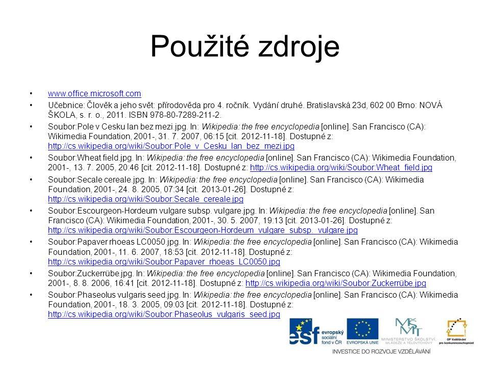 Použité zdroje www.office.microsoft.com Učebnice: Člověk a jeho svět: přírodověda pro 4.