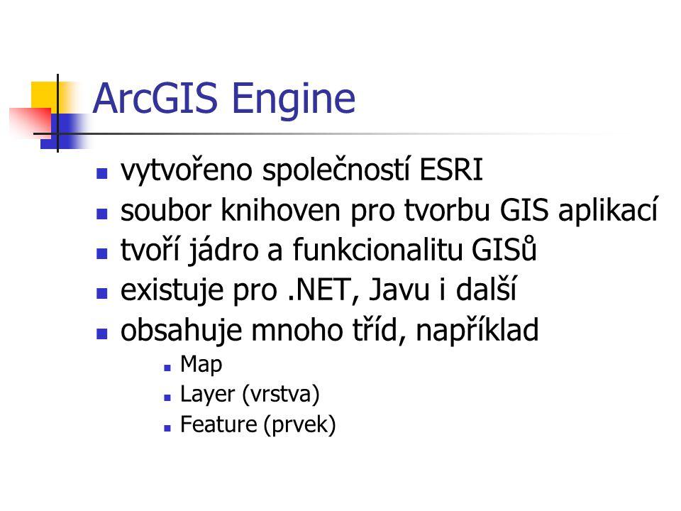 ArcGIS Engine vytvořeno společností ESRI soubor knihoven pro tvorbu GIS aplikací tvoří jádro a funkcionalitu GISů existuje pro.NET, Javu i další obsahuje mnoho tříd, například Map Layer (vrstva) Feature (prvek)