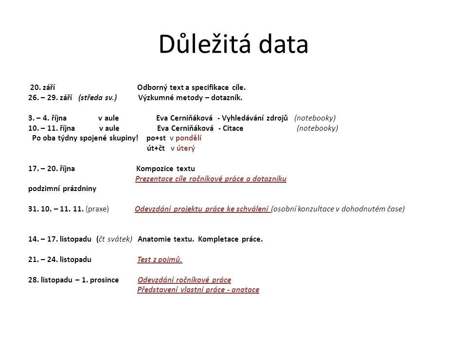 Důležitá data 20. září Odborný text a specifikace cíle. 26. – 29. září (středa sv.) Výzkumné metody – dotazník. 3. – 4. října v aule Eva Cerniňáková -