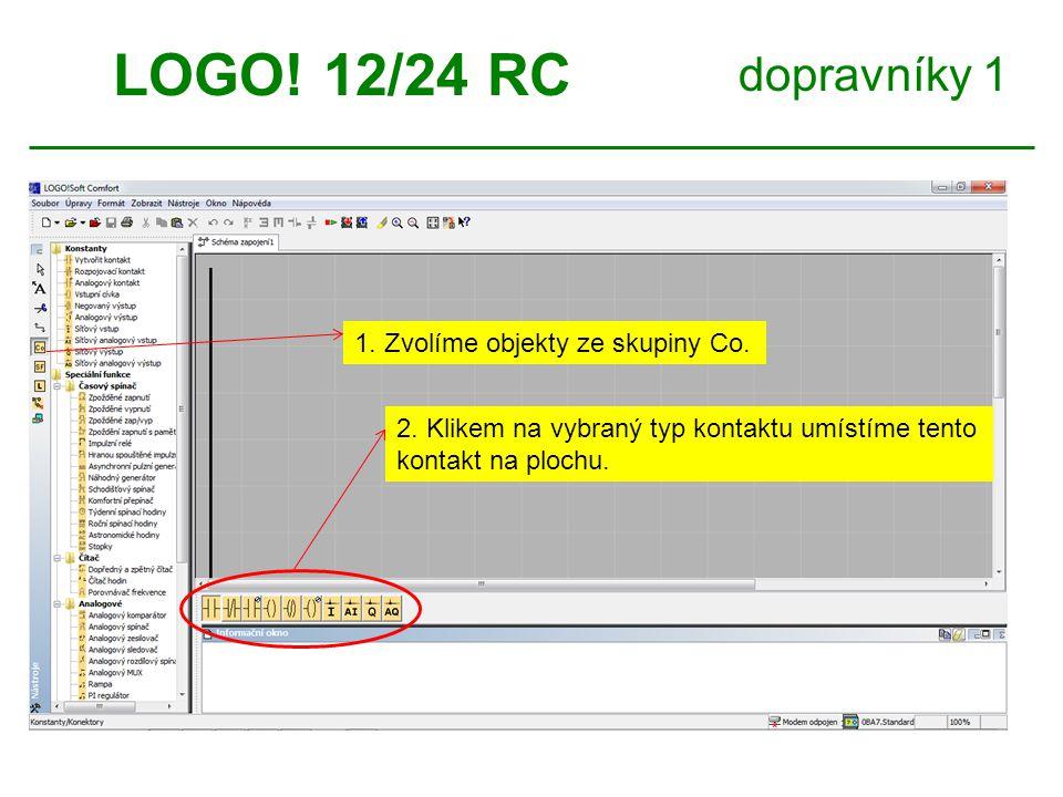 dopravníky 1 LOGO! 12/24 RC 1. Přiřadíme číslo vstupu. 2. V komentáři můžeme objekt pojmenovat.