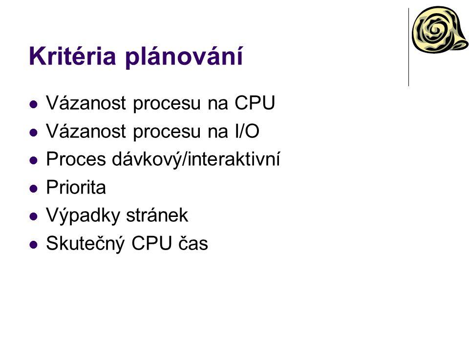 Kritéria plánování Vázanost procesu na CPU Vázanost procesu na I/O Proces dávkový/interaktivní Priorita Výpadky stránek Skutečný CPU čas