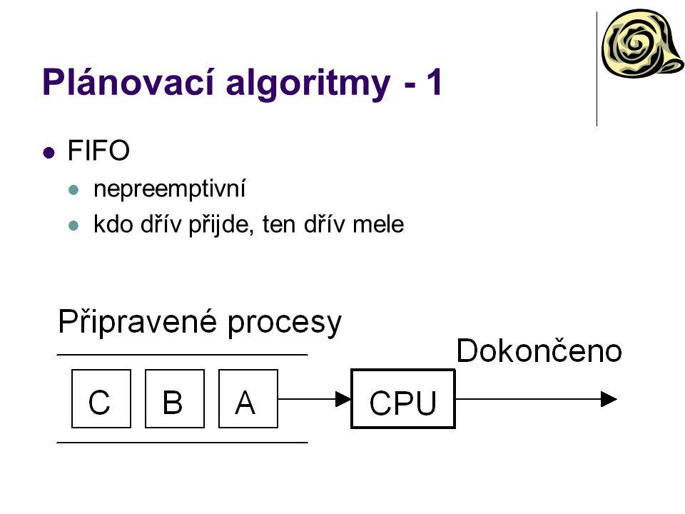 Plánovací algoritmy - 1 FIFO nepreemptivní kdo dřív přijde, ten dřív mele