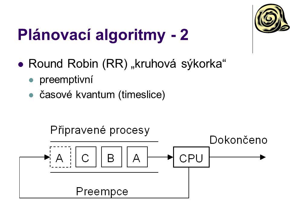 """Plánovací algoritmy - 2 Round Robin (RR) """"kruhová sýkorka preemptivní časové kvantum (timeslice)"""