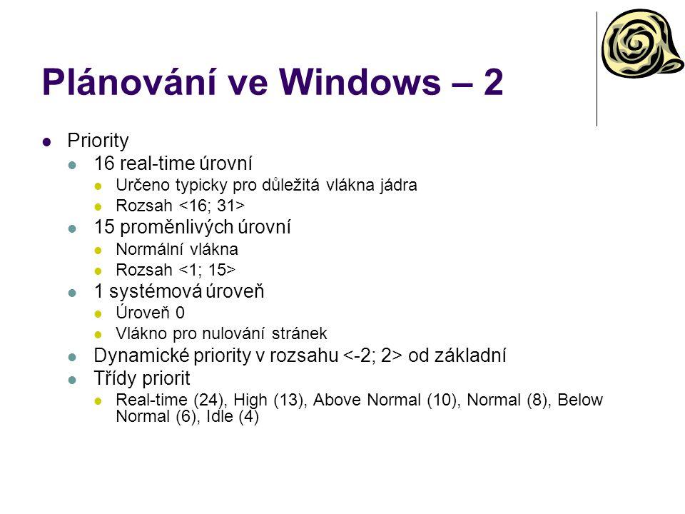 Plánování ve Windows – 2 Priority 16 real-time úrovní Určeno typicky pro důležitá vlákna jádra Rozsah 15 proměnlivých úrovní Normální vlákna Rozsah 1 systémová úroveň Úroveň 0 Vlákno pro nulování stránek Dynamické priority v rozsahu od základní Třídy priorit Real-time (24), High (13), Above Normal (10), Normal (8), Below Normal (6), Idle (4)